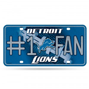 LIONS BLING # 1 FAN METAL NUMBER PLATE
