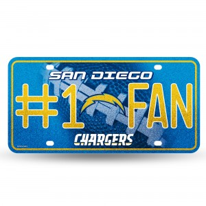 CHARGERS BLING # 1 FAN METAL NUMBER PLATE
