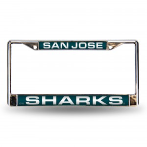 SAN JOSE SHARKS TEAL LASER CHROME CALIFORNIA LICENSE PLATE FRAME