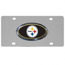 Pittsburgh Steelers Oval Logo Stainless Steel License Plate
