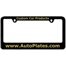 Custom Black Brass 2 Hole Thin Top - Wide Bottom License Plate Frame