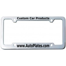 Custom Chrome Brass 4 Hole Thin Top - Wide Bottom License Plate Frame