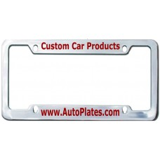 Custom Chrome Brass 4 Hole Wide Top - Wide Bottom License Plate Frame