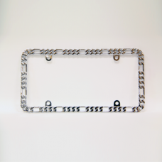 Silver Small Chain Link Chrome License Plate Frame