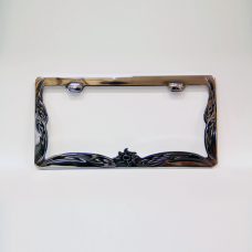 Tribal Sun and Waves Chrome License Plate Frame