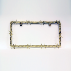 Golden Barbed Wire License Plate Frame