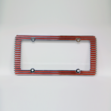 Old School Grill Red and Chrome License Plate Frame
