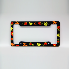 Flowers and Lady Bugs License Plate Frame