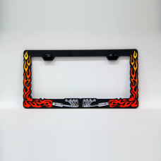 Flames and Tail Pipes License Plate Frame