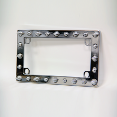 Spiked Chrome Motorcycle License Plate Frame