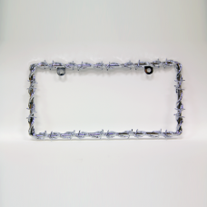 Silver Barbed Wire License Plate Frame