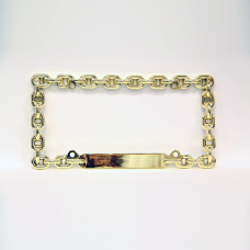 Gold Chain Link Metal License Plate Frame
