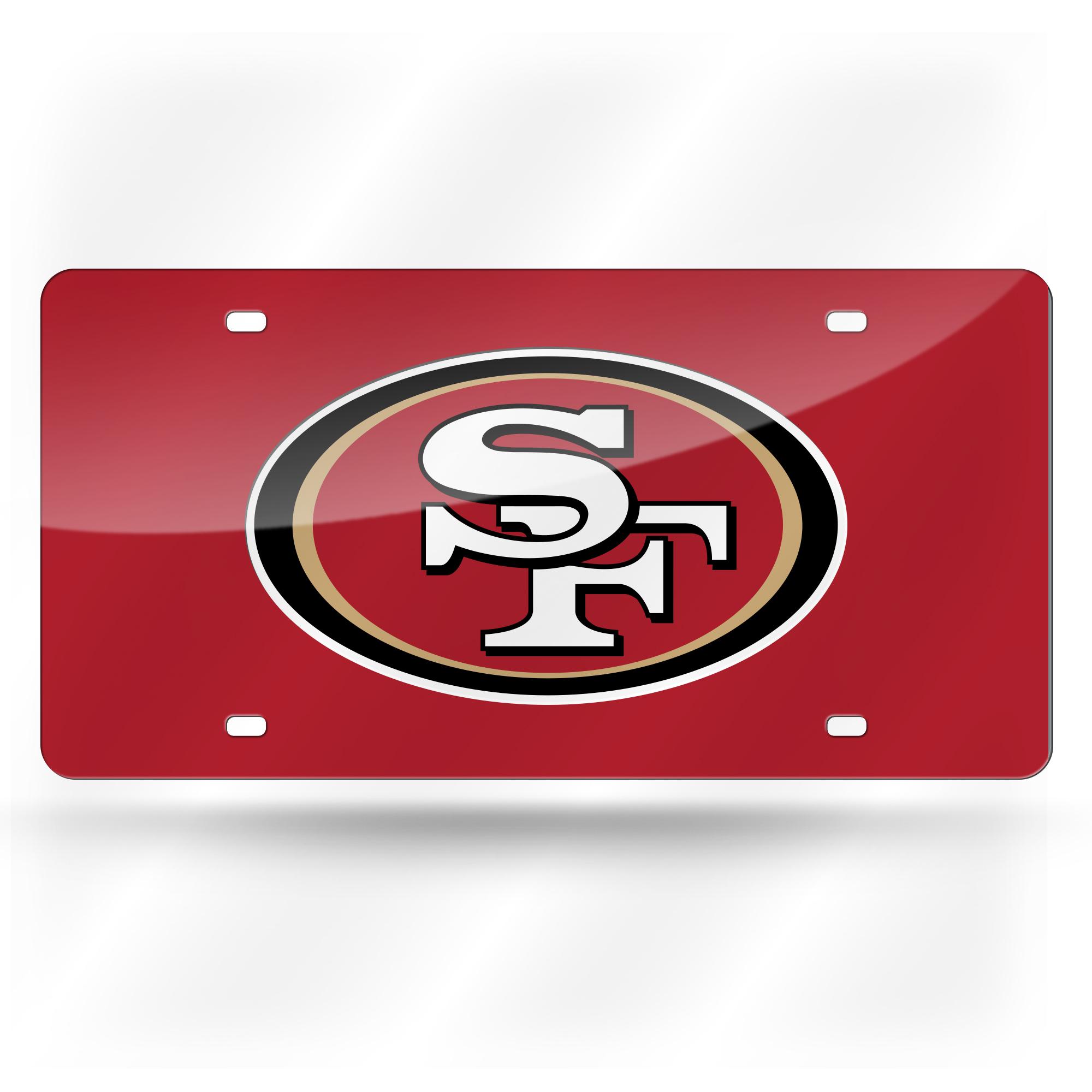 San Francisco 49ers Glitter License Plate Black
