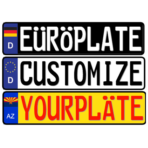 Design your own embossed aluminum European license plate
