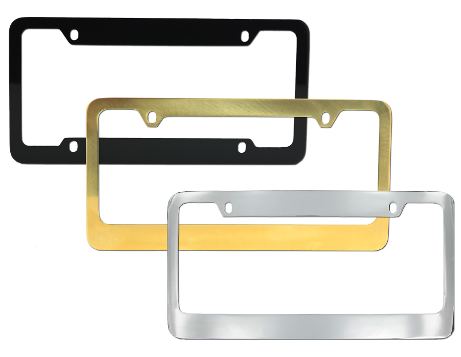 Three Brass Frames Black, Gold, and Chrome.